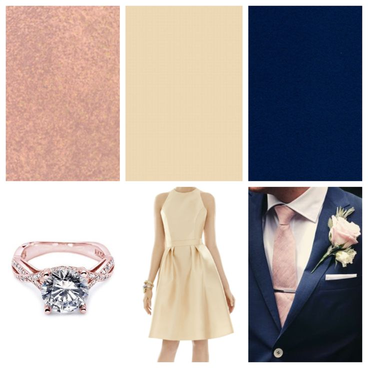 My wedding colors and inspirations. Navy blue (groom w/rose gold tie and groomsmen w/ champagne tie) Champagne (bridesmaid dresses) and rose gold (ring color and pot. MOH dress color)