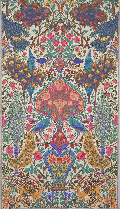 Alexander Morton, textile design, 1926. Inspired by Sardinian peasant embroideries. Cotton. England.