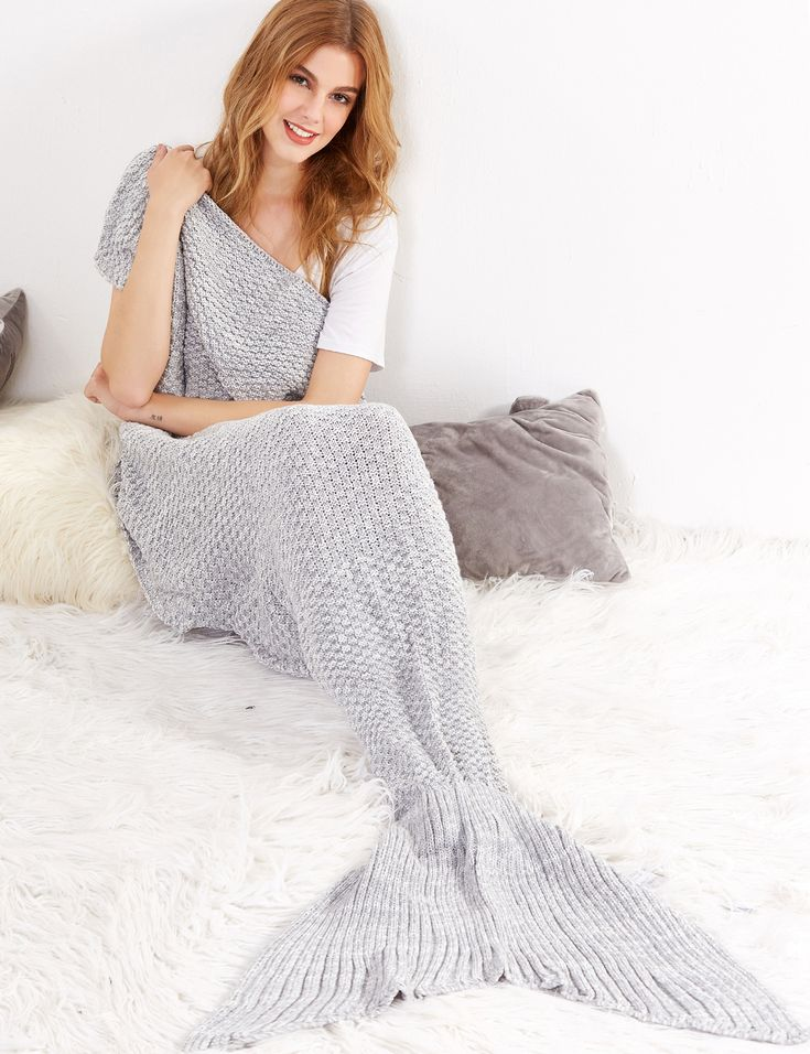 Shop Grey Crocheted Fish Tail Design Mermaid Blanket online. SheIn offers Grey Crocheted Fish Tail Design Mermaid Blanket & more to fit your fashionable needs.