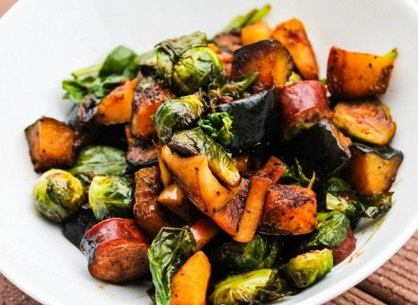 Squash, Brusseles Sprouts, Chicken Sausage and Apples in a Maple Balsamic Glaze. So Delicious!