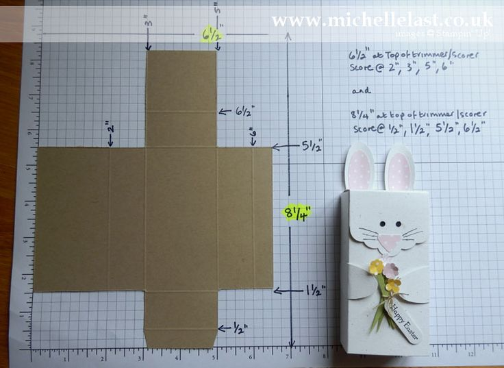 Easter Bunny Box with measurements and instructional video by Michelle Last www.michellelast.co.uk