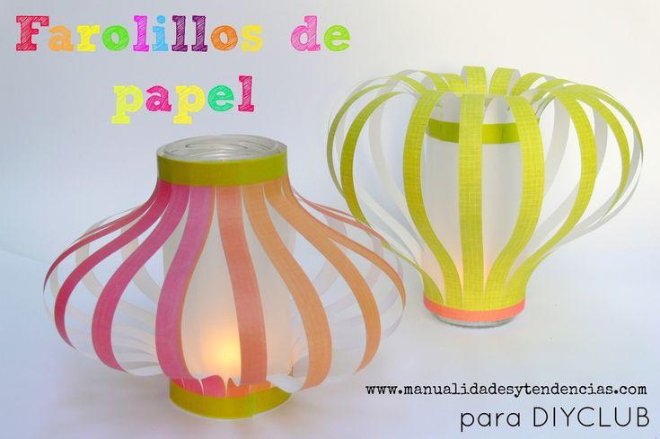 Farolillos de papel diy www.manualidadesytendencias.com #diy #farol #lantern #papel #paper #manualidades #homedecor