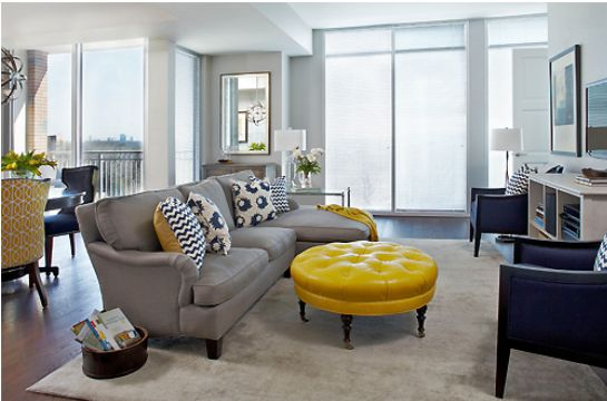Navy yellow gray living room living space update pinterest gray rooms club chairs and Gray blue yellow living room