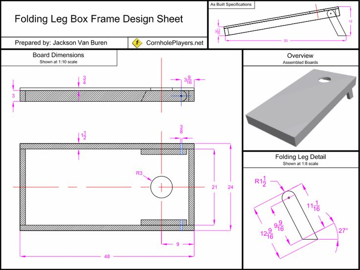 Folding Leg Box Frame Design Spec Sheet for Cornhole Boards.