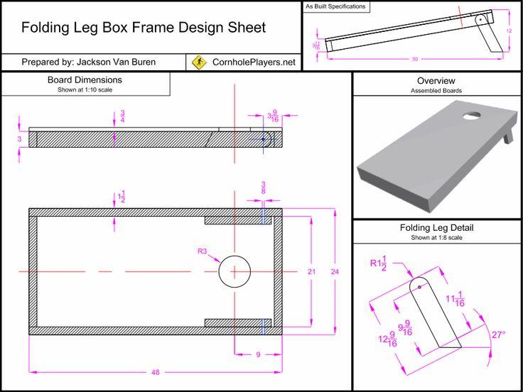 Folding Leg Box Frame Design Spec Sheet for Cornhole Boards.