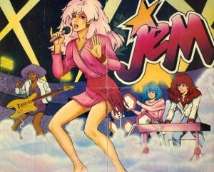 Jem and the Holograms - one of my fave cartoon shows...the Holograms' Jem, Kimber, Aja and Shana against the Misfits' Pizzaz, Roxy, Stormer and Jetta, all in their colored hair, neon outfits, animal prints and leg warmers!