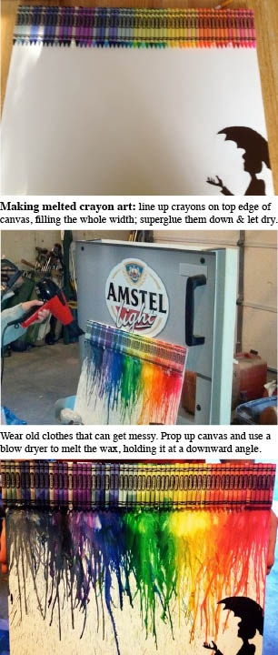 Melted crayon art how-to  (thanks to Kayla M. @ snapguide link)