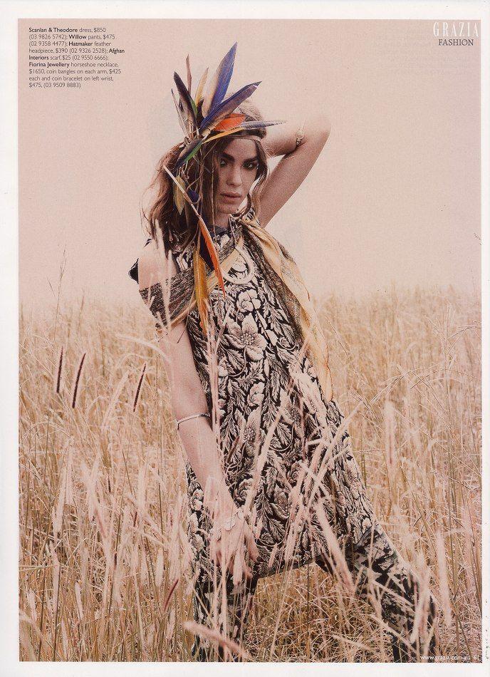 Grazia magazine | #bohemian #boho #hippie #gypsy: Fashion, Bambi Northwood, Inspiration, Style, Editorial, Mood Board, Feathers, Tribal