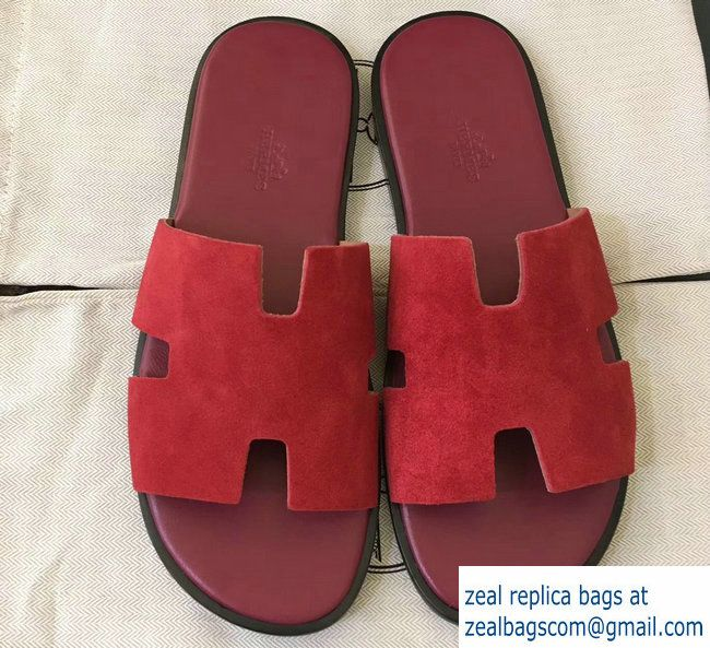 Hermes Izmir Men S Slipper Sandals In Suede Calfskin Red