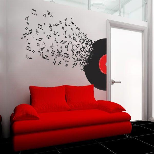 Vinilo decorativo de notas de música | adhesivos decorativos puertas y neveras