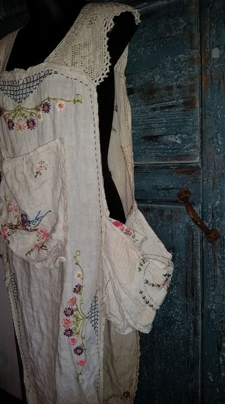 Women's Magnolia Pearl Art Hippie Linen MS Hana Apron Hand Embroidered Crochet | eBay