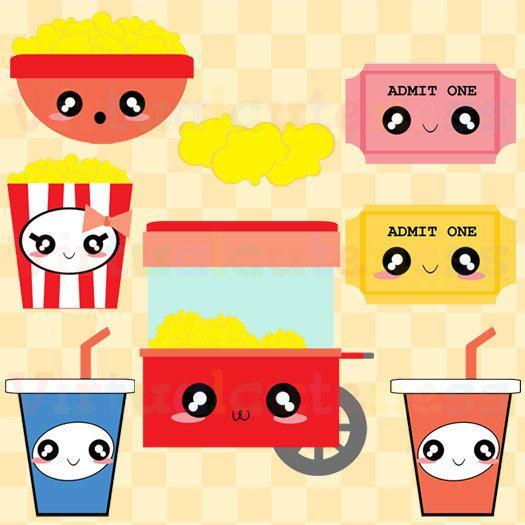 Kawaii Popcorn Clipart Cute Movie Theater Clip por Virtualcuteness
