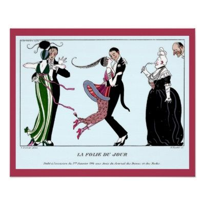 Poster: Grappige Vintage Franse Mode en Dans