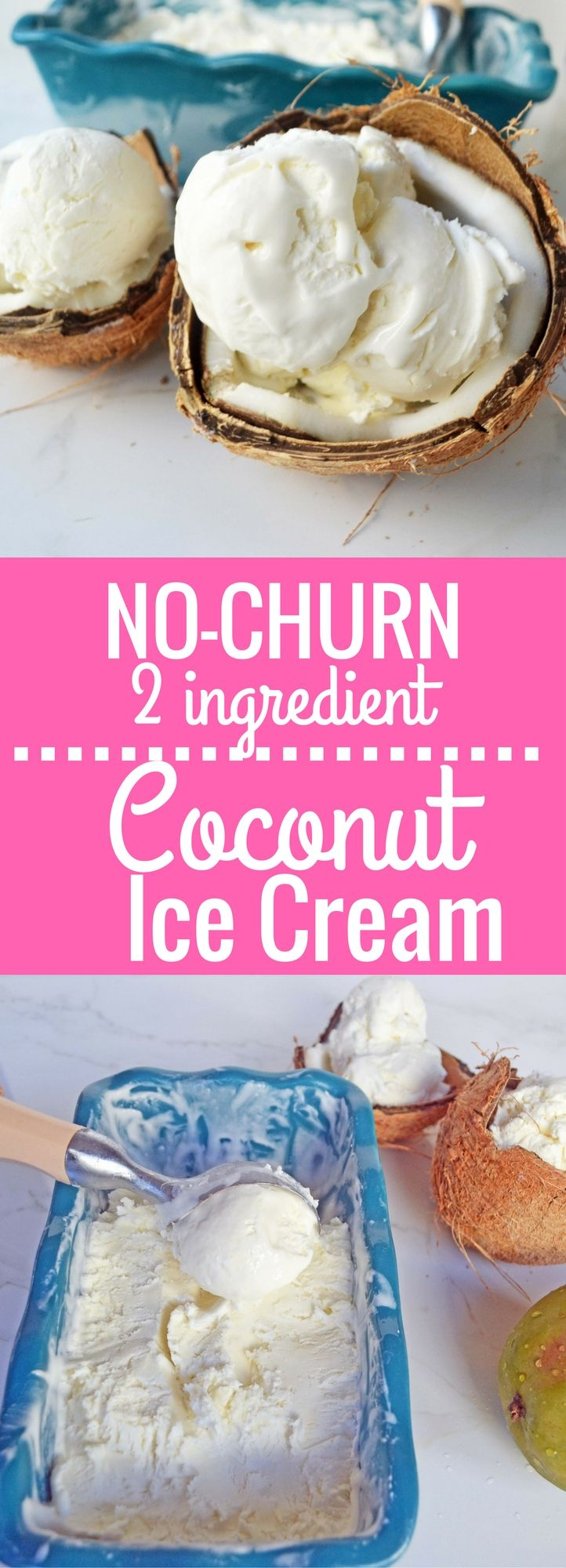 Homemade No-Churn Coconut Cream Ice Cream made with only two ingredients. Super easy creamy coconut ice cream using only canned coconut milk and heavy cream.  www.modernhoney.com