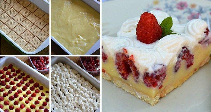 Nepečené malinové dobrodružství s pudinkem a šlehačkou. Maliny můžete vyměnit za sezónní ovoce - jahody, borůvky, třešně, ...