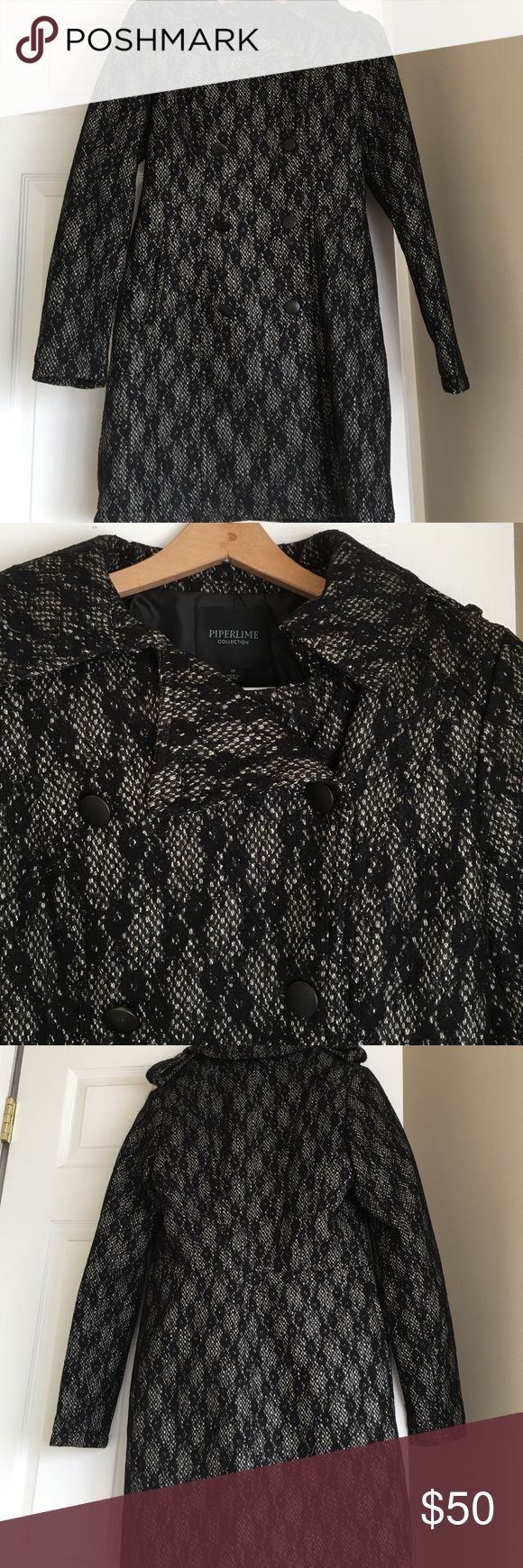 New! No tags never worn medium piperlime lace coat New! No tags never worn medium piperlime lace coat! Lace black white and hints of gold. Never worn and has two button military style top buttons on top shoulders. Cute coat just not my style! Piperlime Jackets & Coats Pea Coats