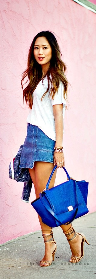 Street style     Juicy Couture Blazer; Nation LTD Karen Tee;  Cameo Denim Skirt; Isabel Marant Heels; Celine Trapeze Purse; Jennifer Zuner Love Necklace;