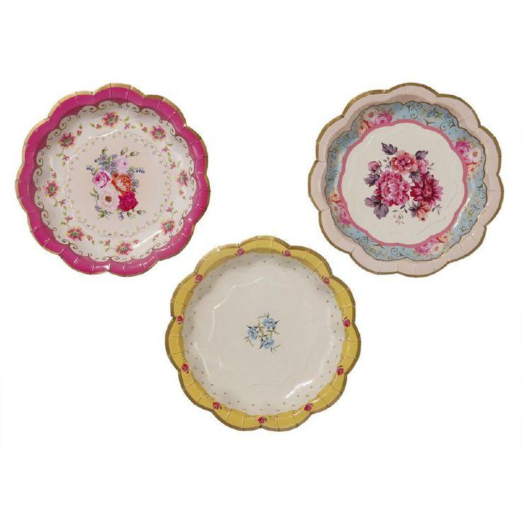 Bijna te mooi om te gebruiken deze papieren vintage gebakbordjes. Geweldig om je sandwiches, cupcakes op te dienen of te gebruiken bij een afternoon tea. Leuk om te combineren met de vintage serveerborden of slingers (zie bijpassend artikel)!