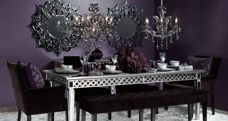 Dine in a sophisticated setting filled with rich aubergine hues.