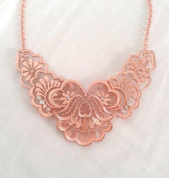 Rose Gold And Diamond Detailed Bib Necklace by LilyAndEllie.com, $24.00