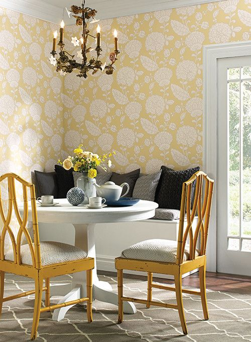 Chunky Floral Wallpaper in Butter Yellow design by Carey Lind for York  Wallcoverings. 15 Must see Photo Wallpaper Pins   Forest wallpaper  Wall murals