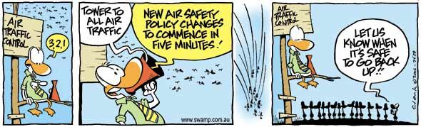 Air Traffic Control announcing new safety policy changes! #airtrafficcontrol #funny #aviation #swampcartoons http://swamp.com.au/search.php?s=7638