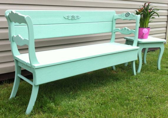 Repurposed Rose Back Chairs Used To Creat A Unique Bench