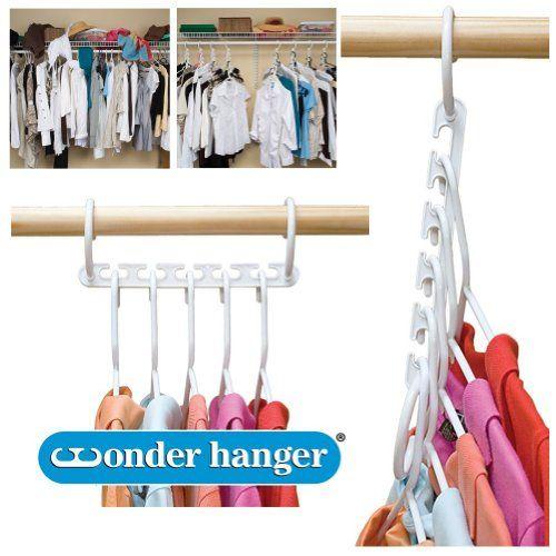 Elegant Wonder Hanger Closet Clothes Organizer/Space Saver Storage White Plastic 10  Pack Wonder Hanger Http