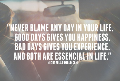 Never blame any day in your life. Good days gives you happiness. Bad days gives you experience. And both are essencial in life. #quote #inspiration