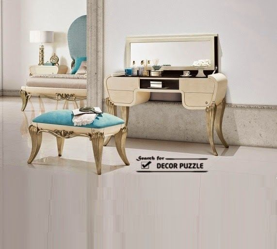 luxury classic dressing table designs, upholstered dressing tables chair