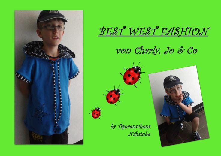 """Ich durfte für Steffi von Charly, Jo &Co. Probe nähen.Entstanden ist die Weste- Best West Fashion. Es ist eine coole, etwas """"übergroße"""" Weste  die es für die Kleenen von Gr. 92-128 und für die Teens von Gr. 134-170 zu erwerben gibt. http://de.dawanda.com/shop/Wunschkind1312/2422819-E-Books-Anziehsachen-Kids?shop_category=2422819-E-Books-Anziehsachen-Kids&quick_view_product=83214383"""