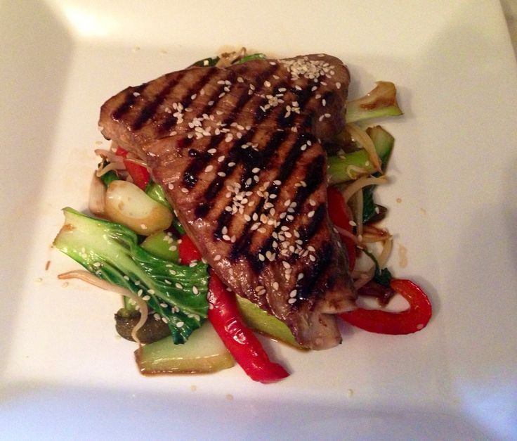 """This is one of those dishes that is quick to knock out and makes me feel  like """"Boom, I can cook!"""" I love the soy, honey and lime combo, it reminds  me of my time in Asia eating street and fancy restaurant food.   I'm now reminiscing about a tuna steak I had in the most amazingly  glamorous re"""
