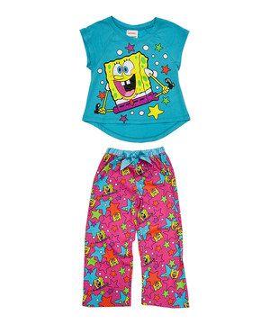 Love this Nickelodeon Pink & Blue SpongeBob Pajama Set - Toddler & Girls by Nickelodeon on #zulily! #zulilyfinds