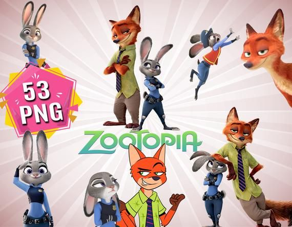 Zootopia Clipart Bundle Includes 53 Png Files With Transparent Background Best Character Printables Blog Backgrounds Zootopia Characters