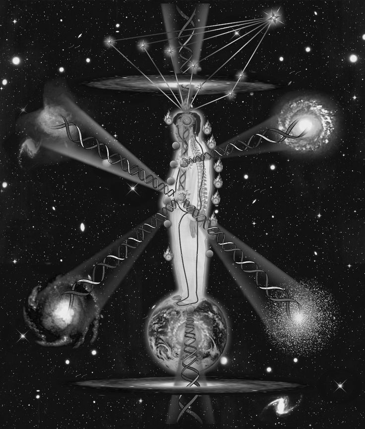 Mantak Chia - Cosmic Orbit, 2011. This illustration shows a man in standing Cosmic Orbit Meditation Posture connecting the Universe from within depicting the North Star and the Big Dipper, Six Directions and the Earth with the background of the...