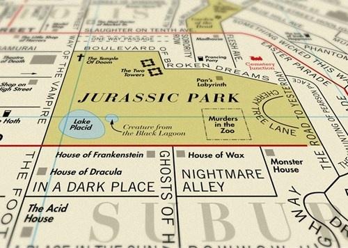 Movie-inspired map: Film Titles, Movie Titles, Jurassic Park, Maps, Art, Movies, Film Map, 900 Film