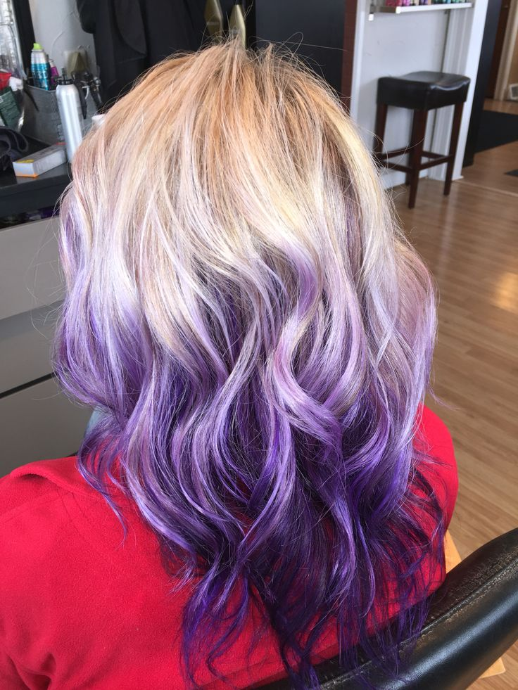 Blonde with purple / violet ombré / balayage hair