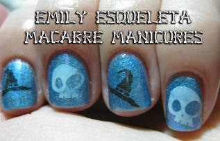 Macabre Manicures: skulls and witch hats nail art