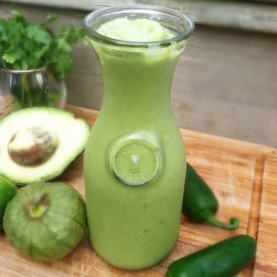 tomatillo avocado salsa - serve over carne asada, roasted veg, as a dip or salad dressing