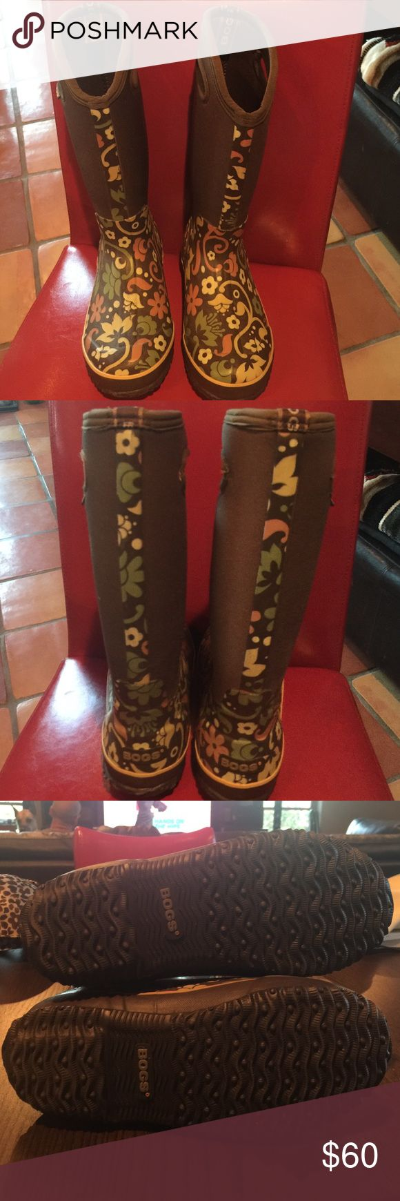 Bogs boots Women's Classic High Corsage Waterproof boots. Brown boots w/green, yellow & orange floral print. Like new!! Bogs Shoes Winter & Rain Boots