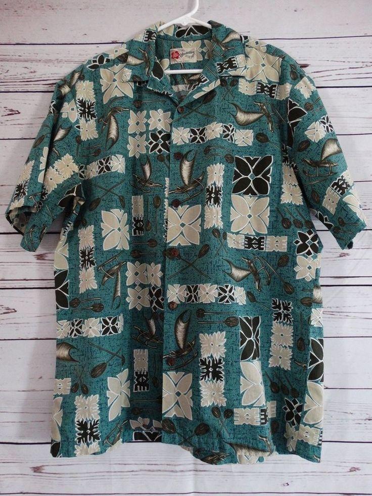 Hilo Hattie Hawaiian Original Cotton Shirt Men Size L Outrigger Canoe Print #HiloHattie #ButtonFront