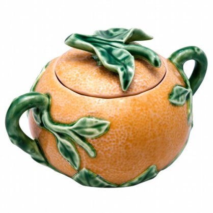Orange Sugar Pot - Fábrica de Faianças Artísticas Bordalo Pinheiro #sugarpot #orange #bordalo