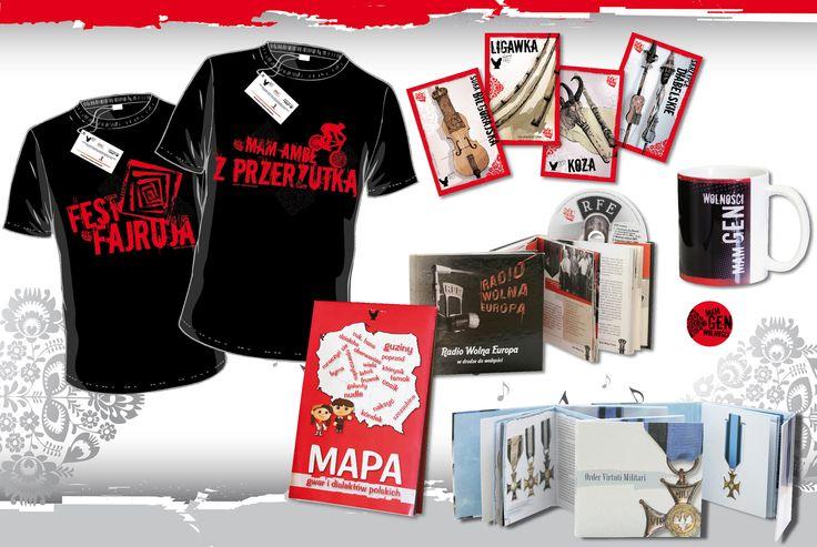 Gadżety kampanii Mam Gen Wolności - pocztówki, koszulki, kubki, mapy, publikacje. Projekty i realizacja: Studio Zakład, www.zaklad.pl