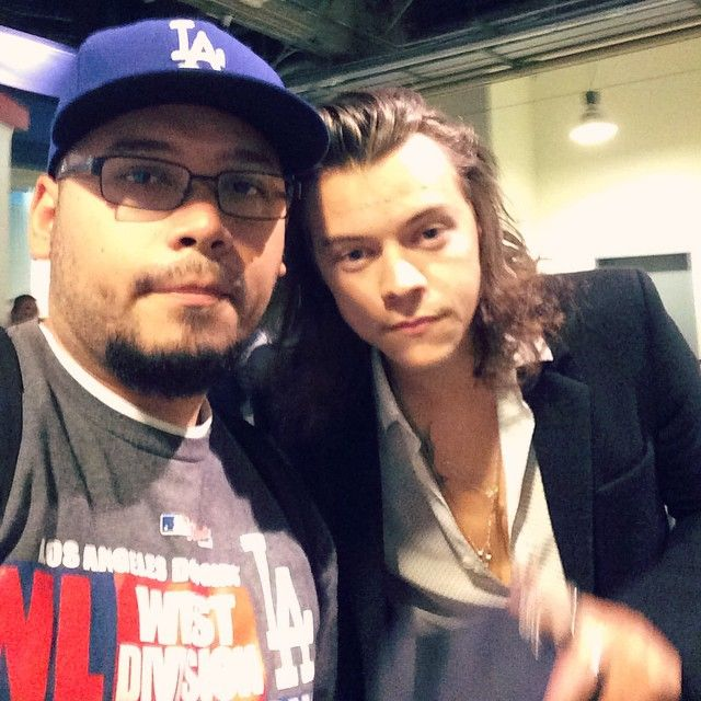 Harry at a Dodger game in L.A. today (: (4/27/15)