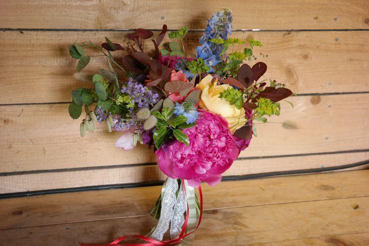 Handtied bridal bouquet of British Flowers.  Ratsbury Barn, Kent.