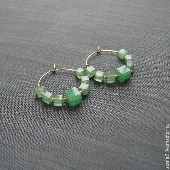 """Купить Серьги-кольца """"Colombian green"""" - серьги с камнями, зеленый, серьги ручной работы"""