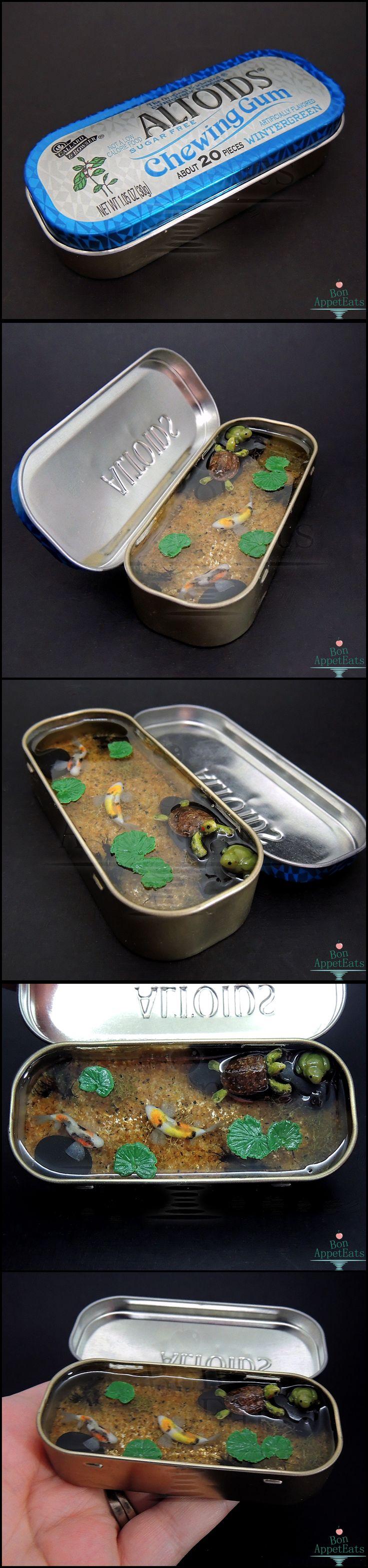 Commission: Tin Pond with Koi, Turtle, and Frog by Bon-AppetEats.deviantart.com on @deviantART