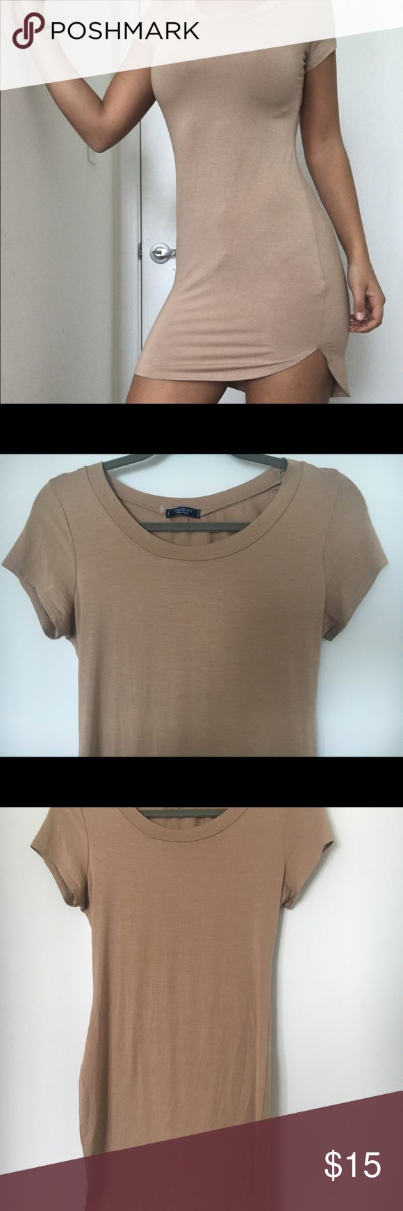 Bodycon camel nude t shirt dress round neck short Thank you for viewing my listing! :)   Let me know if you have any questions! Xx Dresses Mini