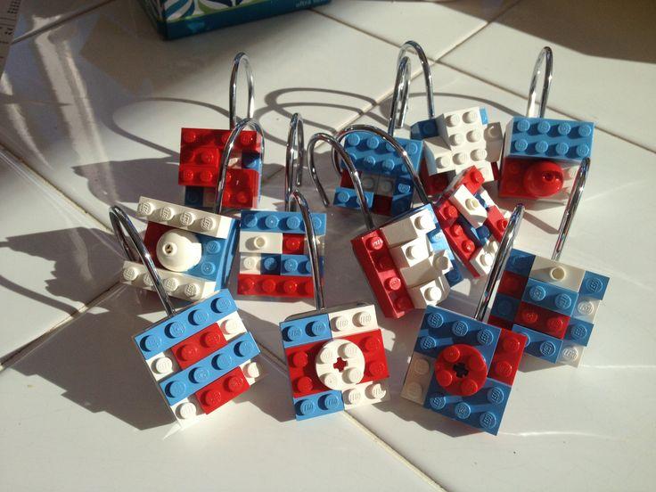 I Made These Lego Shower Curtain Hooks Last Night For The Boysu0027 Lego Themed  Bathroom