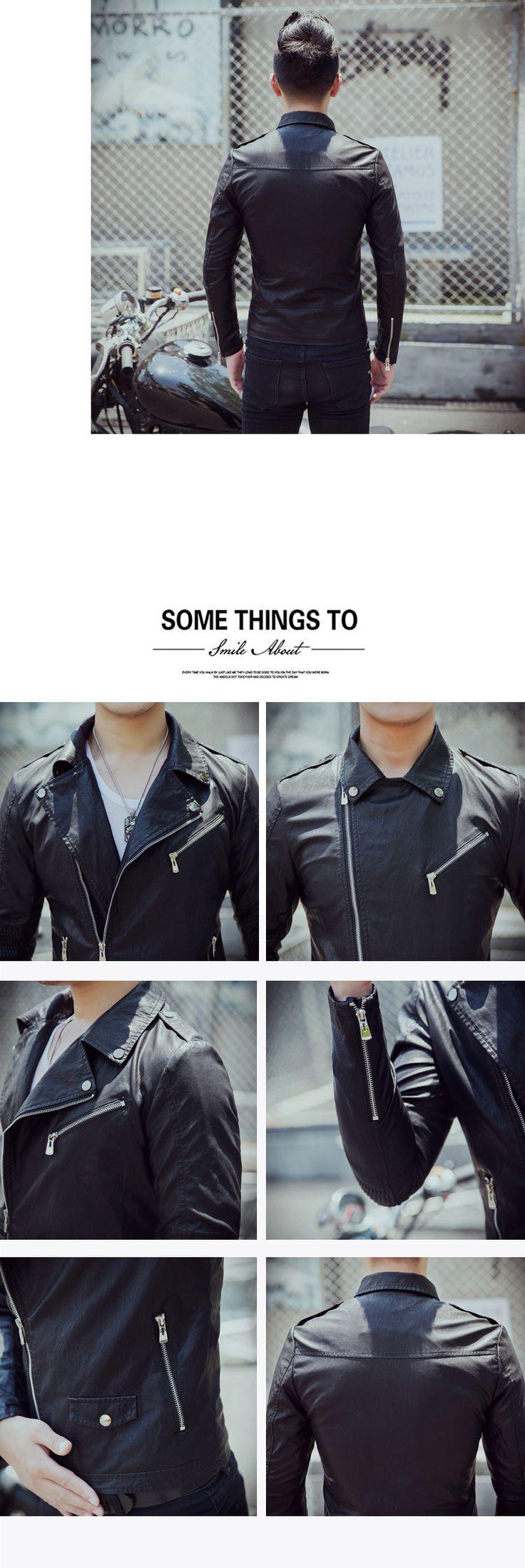 Большой размер М 5XL Новый мужская Кожаная Куртка Черный Мода Панк Мотоцикл Куртки Мужчины Slim Fit PU Кожаное Пальто купить на AliExpress